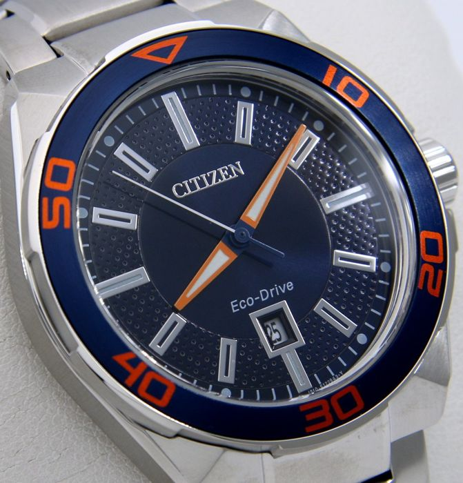 "Citizen - Eco Drive Sport Dial ""Blue-Orange"" - ""NO RESERVE PRICE"" - Homme - 2011-aujourd'hui"