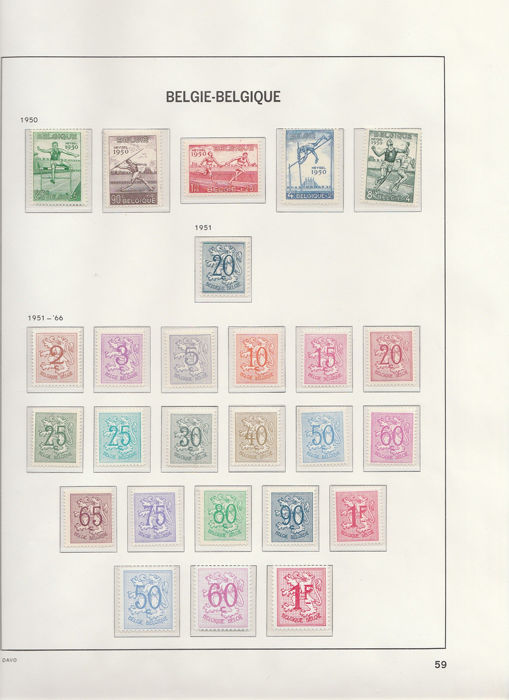 België 1950/1952 - Current postal stamp collection with block from - OBP / COB N°823 à 907