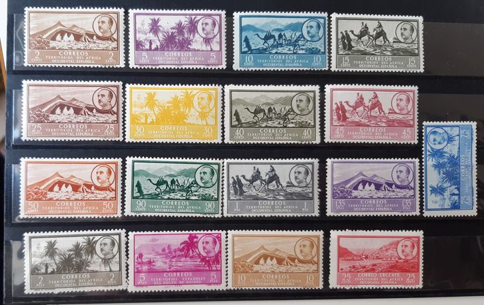Spaans-West-Afrika 1950 - Landscapes and General Franco. Well centred set - Edifil 3/19