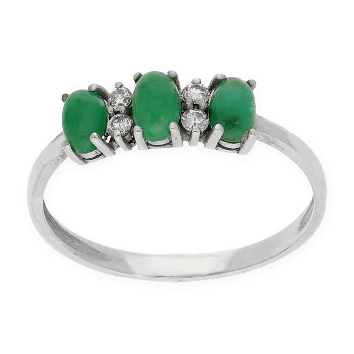 18 kt. White gold - Ring Diamond - Emeralds