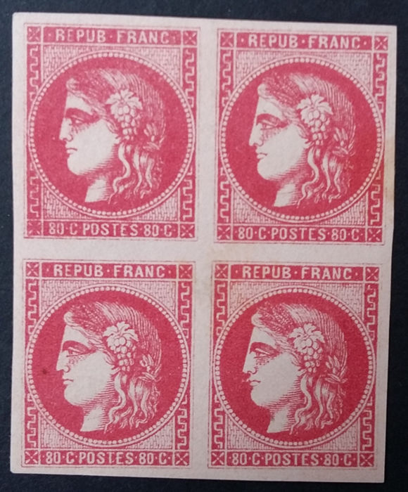 France 1870 - Bordeaux 80c pink, block of 4 - Yvert 49