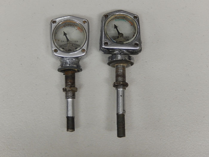 Jauges de température de radiateur - 2 Genuine Vintage Chrome Wilmot Breeden Calormeters Radiator Temperature Gauge Meters - 1940-1960