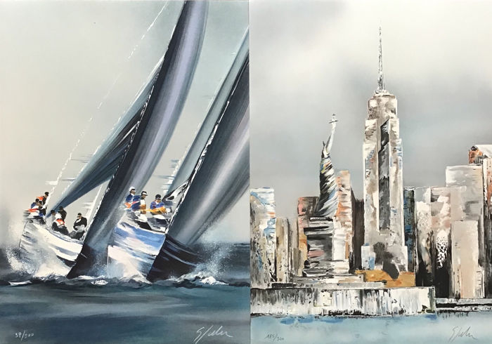 Victor Spahn (1949 -)  - 2 Lithographies - America's Cup et New York