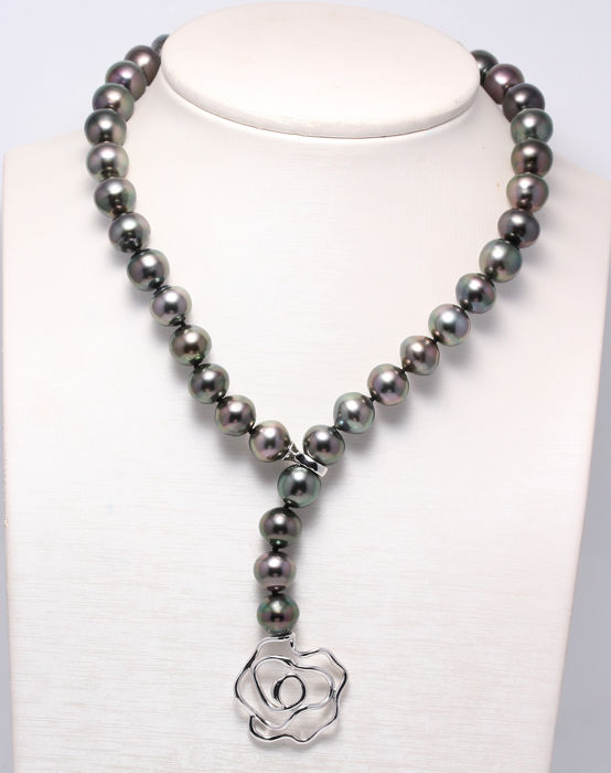 NO RESERVE PRICE - 925 Silver - 11x12.5mm Peacock Tahitian Pearls - Necklace