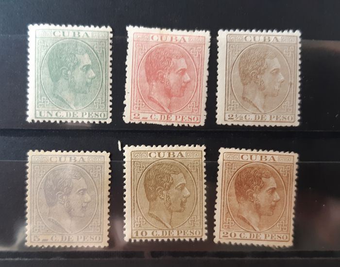 Cuba - Spanish colony 1882/1883 - Alfonso XII. Complete set, well centred. - Edifil 68/73
