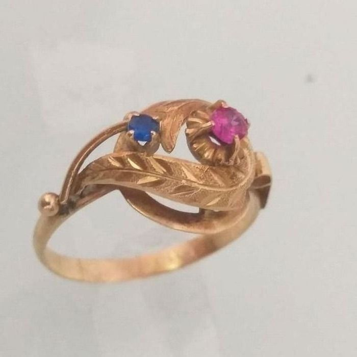 18K Gold Ruby and Blue Sapphire - Ring