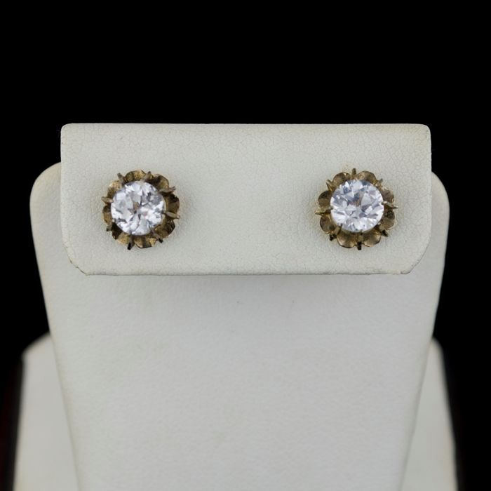 Authentic Antique - 18 kt. White gold, Yellow gold - Earrings Antique Paste