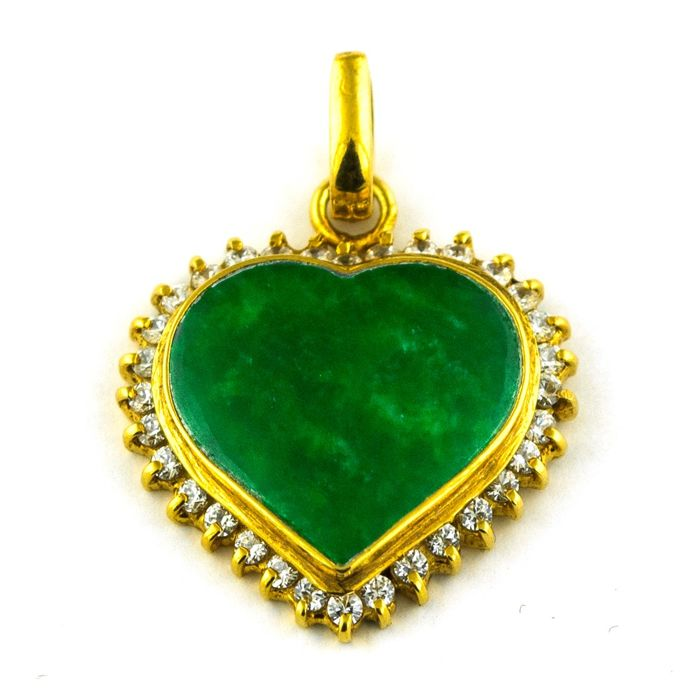 Heart - *Low Reserve Price* - 18 kraat Gulguld - Vedhæng jade
