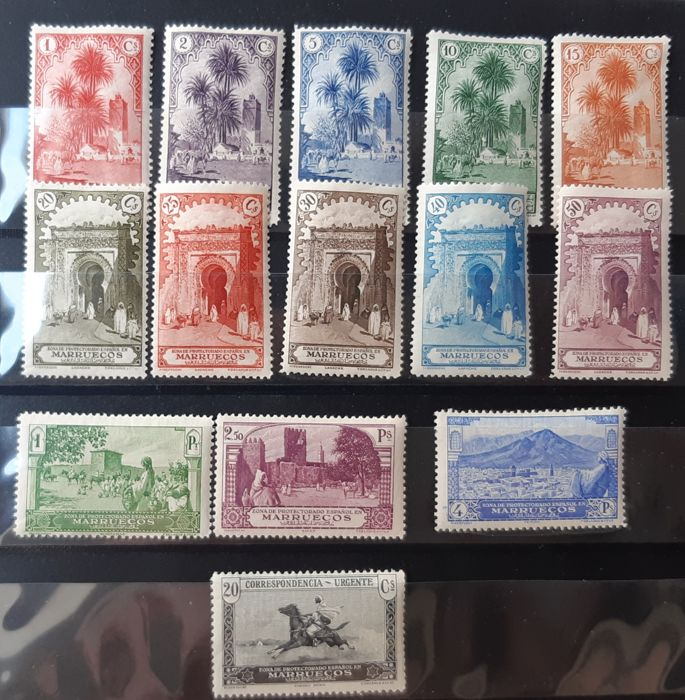 Morocco - Spanish post offices 1928 - Landscapes and monuments. Complete set with good centring - Edifil 105/118