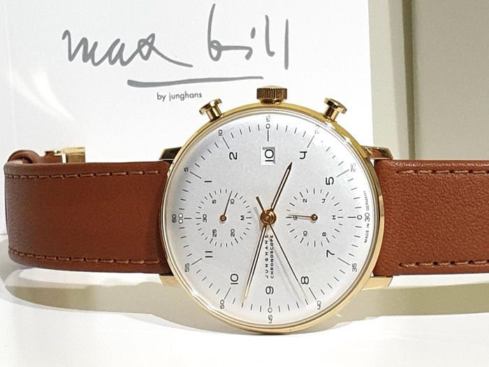 Junghans - Max Bill Chronoscope - IP Gold 18K and Genuine Leather Strap - 027/7800.00 - Mai Indossato - Heren - 2019