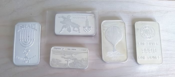 5 X 1 oz  - Prata .999 - Different mints