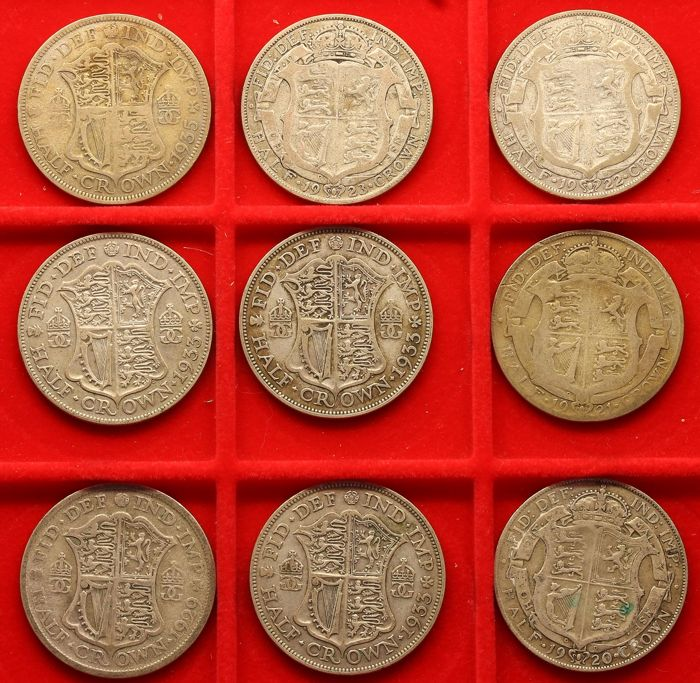 Verenigd Koninkrijk - ½ Crowns 1920/1935 George V (9 different)  - Zilver