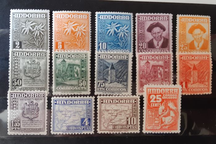 Andorra - Spanish 1948/1953 - Various types. Complete set, well centred. - Edifil 45/58