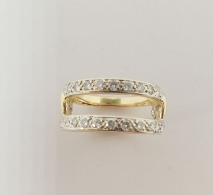 18 kt. White gold, Yellow gold - Ring - 0.85 ct Diamond