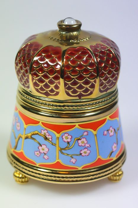 Franklin Mint - House of faberge - Muziekdoos speeldoos - Porselein verguld