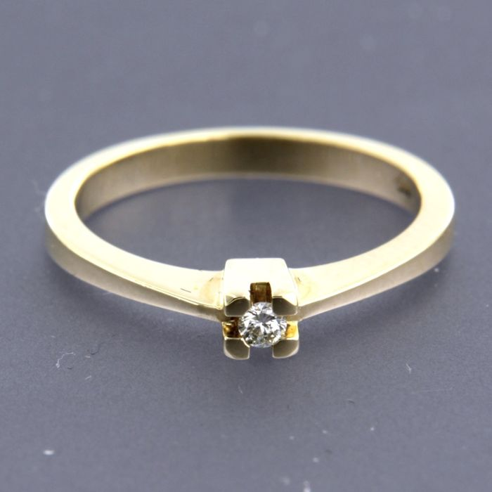 14 quilates Oro amarillo - Anillo - 0.05 ct Diamante