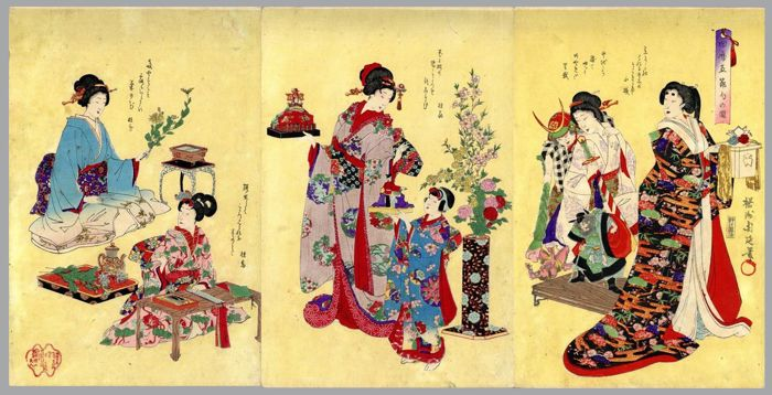 "Original Holzschnitt, Triptychon - Toyohara Yoshu Chikanobu (1838-1912) - ""Kyureki gosekku no zu"" 旧暦五節句の圖 (Pictures of Old Customs: Five Seasonal Festivals) - 1888"