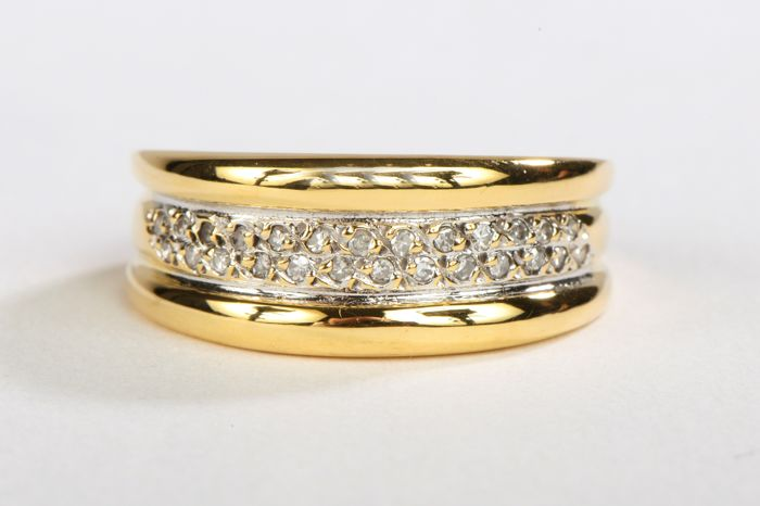 18 kts. Yellow gold - Ring - 0.13 ct Diamond