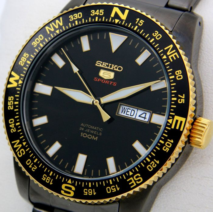 "Seiko - Automatic 24 Jewels ""Black-Gold"" 100M  - ""NO RESERVE PRICE"" - Heren - 2011-heden"
