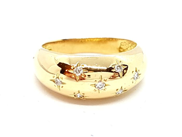 18 kts. Yellow gold - Ring - 0.07 ct Diamond