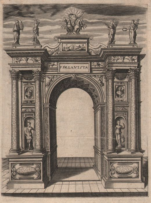 Italian engraver - 17th century - Triumphal arch with the four seasons