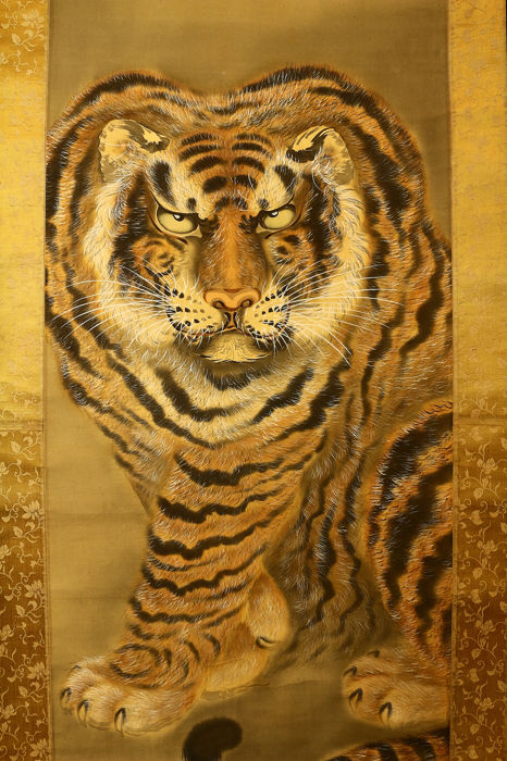 Hanging scroll - Paper, Silk, Wood - Tiger - By Shintani Tessen 新谷鐵僊 (ca. 1867-1954) - Japan - ca. 1930-40 (Early Showa period)