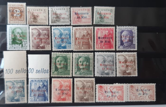 Ifni 1948 - Enabled (overprinted) stamps from Spain. Complete set. Well centred - Edifil 37/56