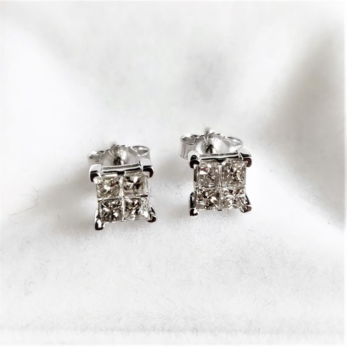 14 kt. White gold - Earrings - 0.70 ct Diamond