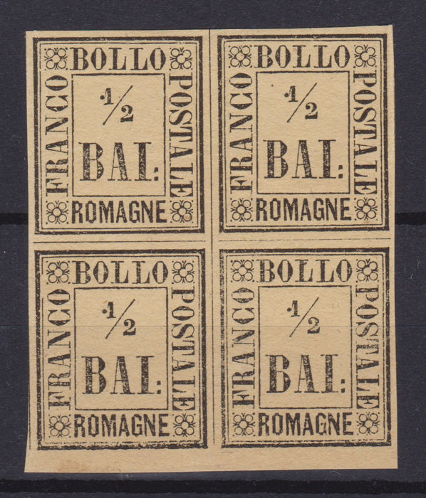 Romagne 1859 - 1/2 baj straw yellow block of four with sheet margin at the bottom - Sassone N. 1