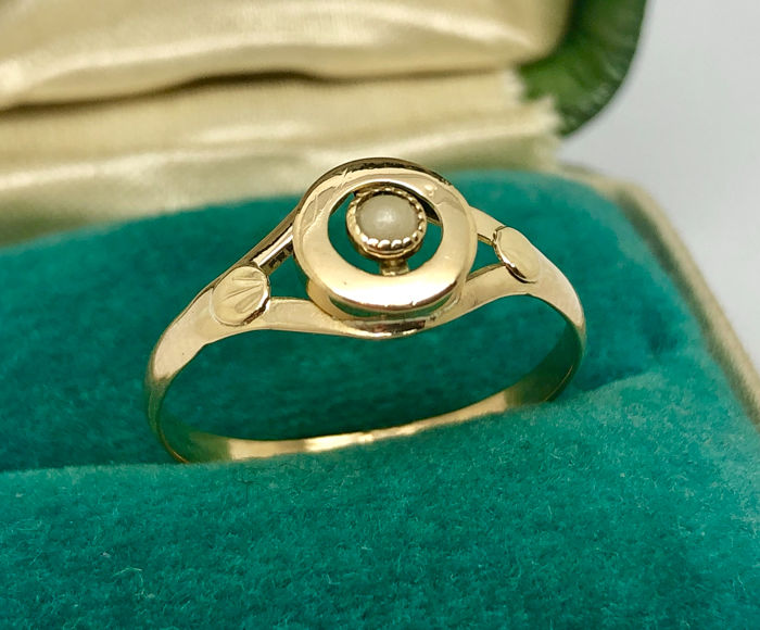 18 kt. Yellow gold - Ring Fine pearl