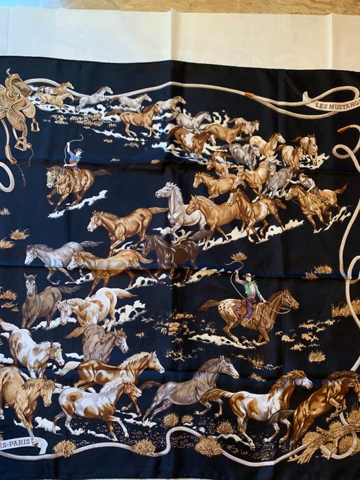 Hermès - Hermès Scarf 'Les Mustangs' by Robert Dallet with its orange box.  Very rare and sought after.