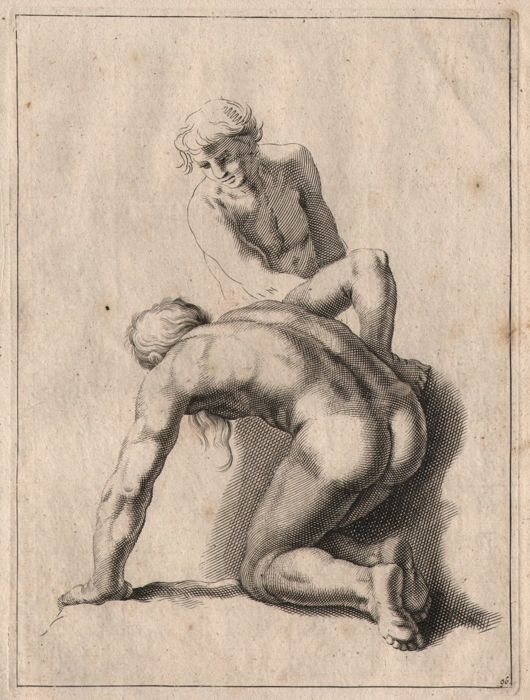 Abraham Bloemaert (1564-1651) - Study sheet with drawing of  two naked men