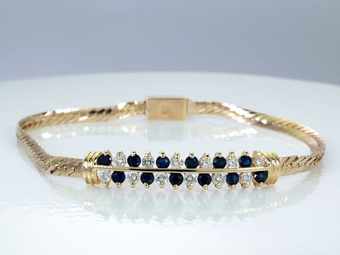 14 kt. Gold - 1.20 Ct - High quality diamond & sapphire bracelet