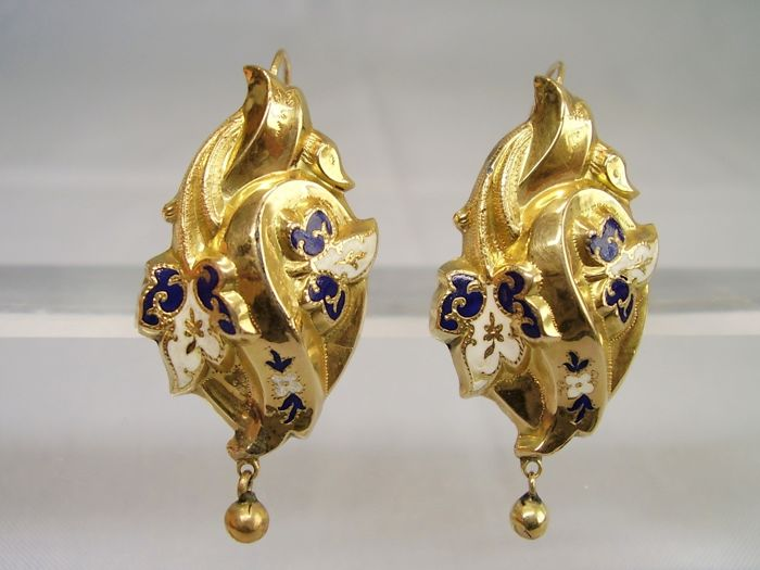 Victorianische Ohrringe  - 14 kt. Yellow gold - Earrings blue and white enamel painting