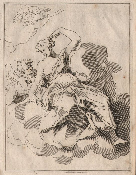 Abraham Bloemaert (1564-1651) - Study sheet with drawing of  a godess on the clouds with putti and doves