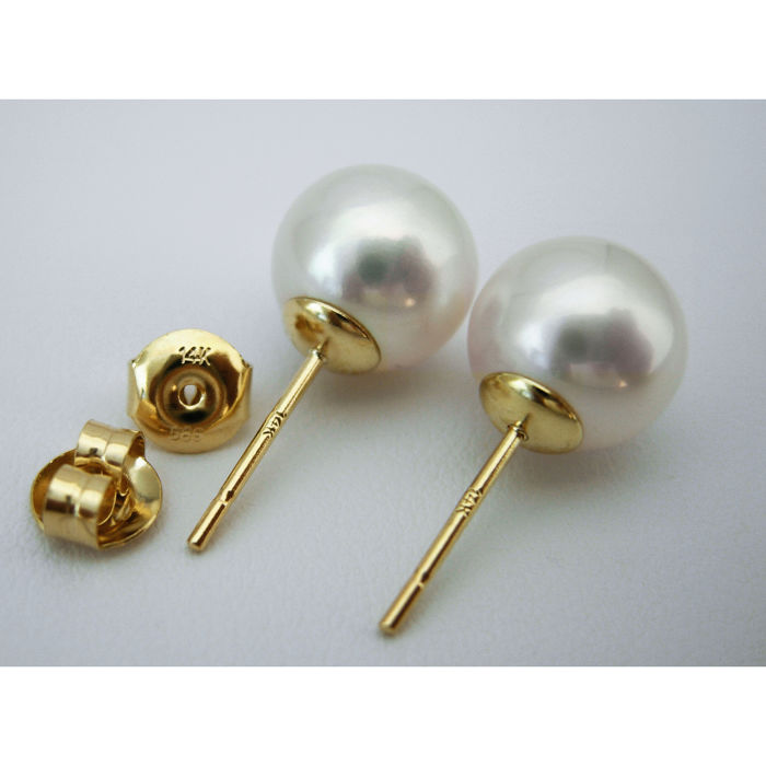 HS Jewellery 10mm - 14 kt. Yellow Gold, South sea pearls - Earrings (NO RESERVE)