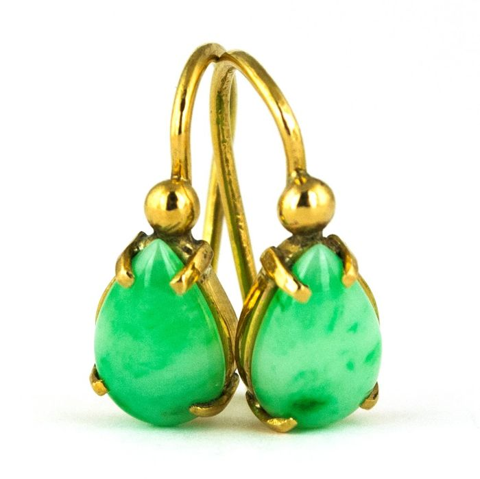 Pear Drop - 18 kt. Gold - Earrings Jade