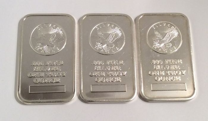 3 x 1 troy ounce (31,1gr) - Zilver .999 - sunshine mounting