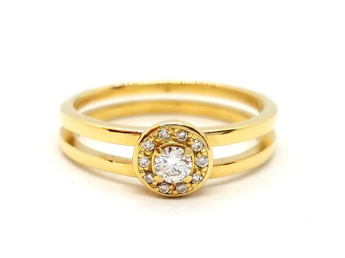 18 kts. Yellow gold - Ring - 0.13 ct Diamond - Diamond