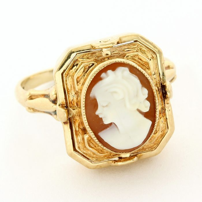 10 kt. Yellow gold - Antique Two in One Ring Cameo  - Onyx, Diamond