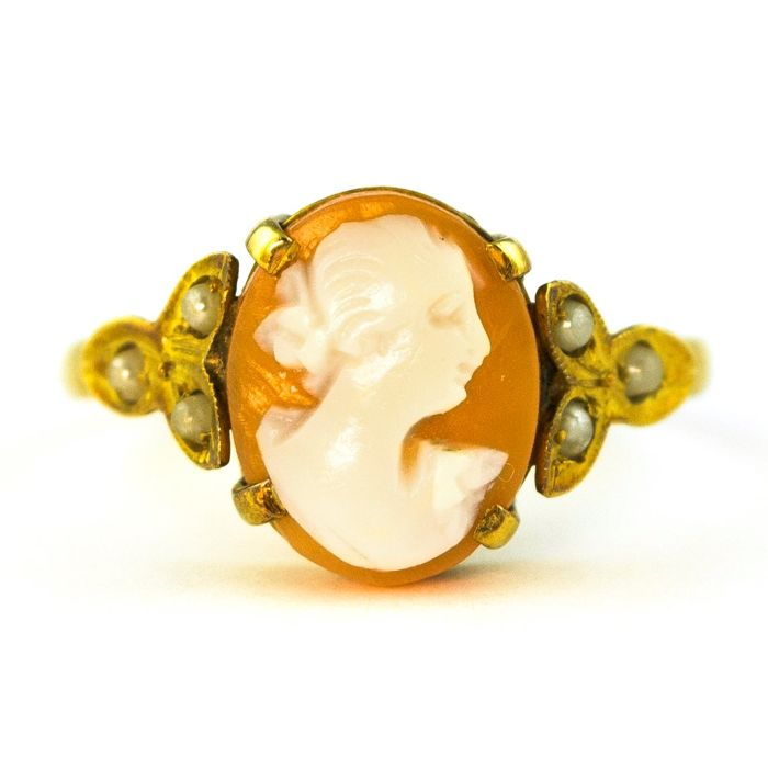 Authentic Antique Camay  - 18 kt. Yellow gold - Ring - Pearl