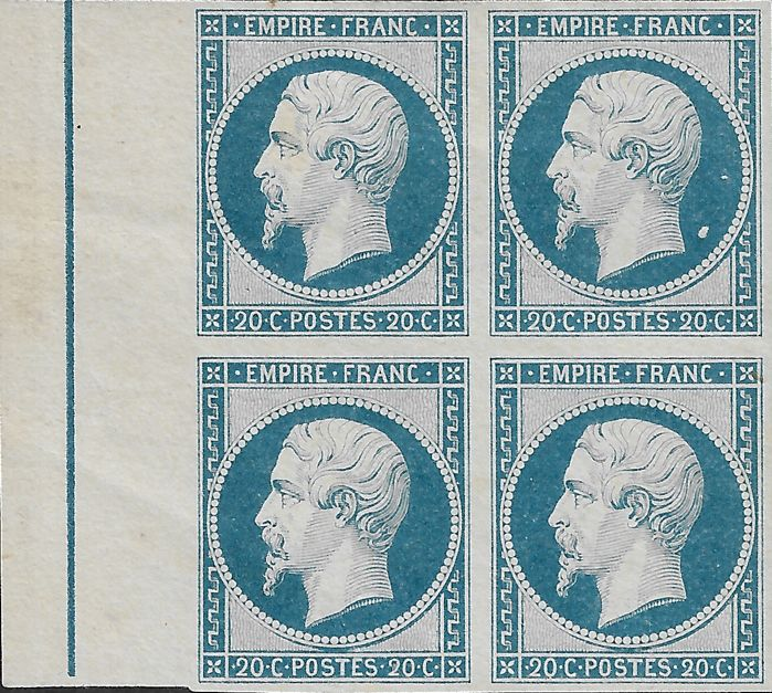 France 1854 - Empire imperforate, block of 4 with framing filet and print variety - Yvert 14 Ai