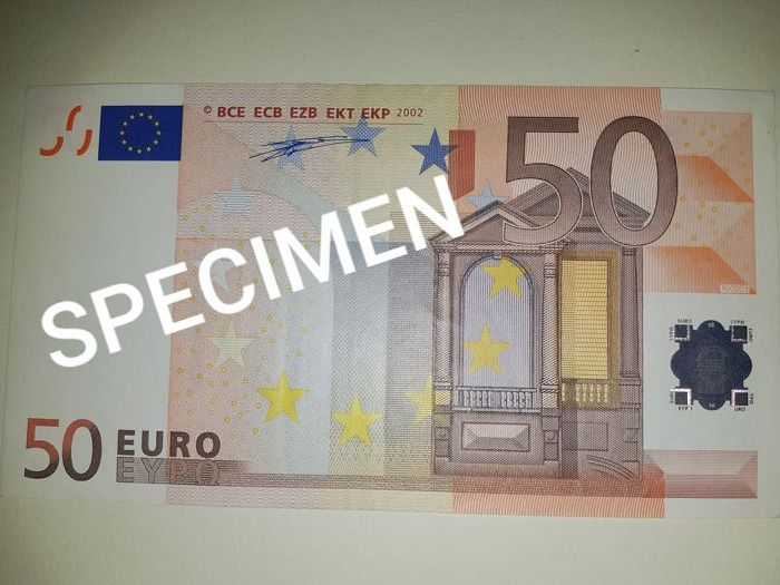 "European Union - Germany - 50 Euro 2002 - Duisenberg - Error-note - Missing ""50"" in green on back."
