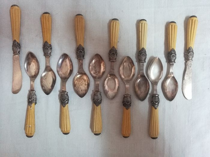 Spoons and two small knives with sepiolite handles (12) - .925 silver, foam handle - Italy - End of the nineteenth century