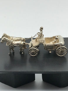 C.A Stout Rotterdam - Strong handmade Dutch silver miniature Carriage pulled by 2 Horses - Silver