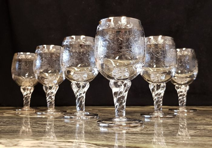 Murano - Set of 6 crystal glasses with engraving decorated with silver (6) - Crystal, Silver