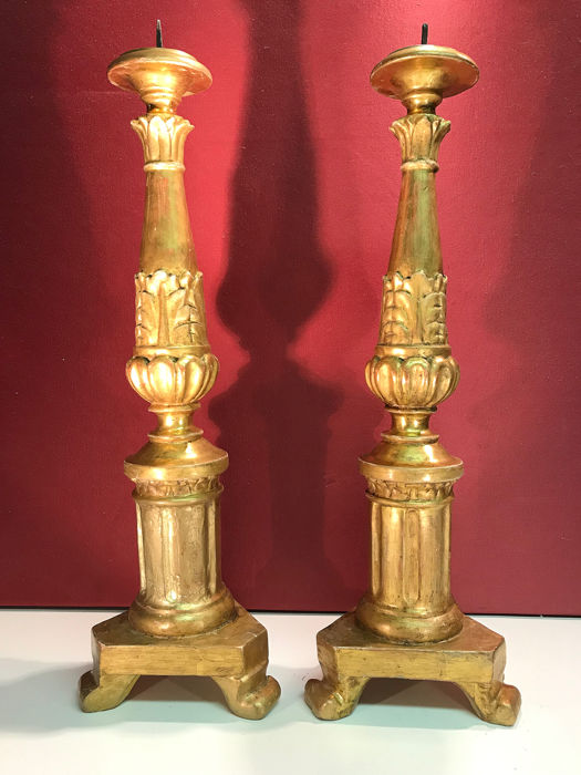 Candlestick (2) - Neoclassical - Gilt, Lacquer, Wood - Early 19th century