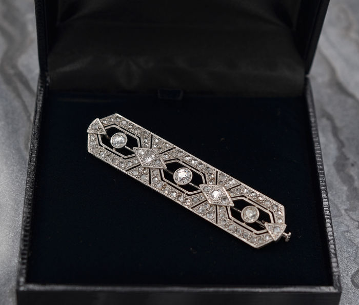 18 kt. White gold - Brooch - Diamonds