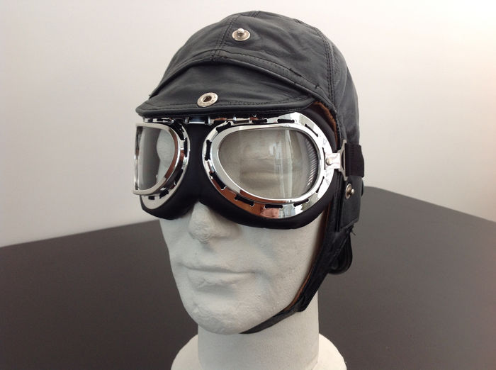 Ropa - Leather Helmet including Goggle Old style - 1930-1960