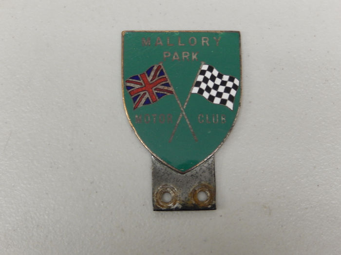 Crachá - Vintage Chrome Enamel Mallory Park British Racing Circuit Car Badge Auto Emblem - 1960-1970